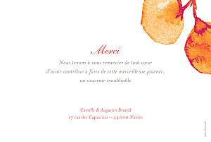 Carte de remerciement mariage Ombres florales orange