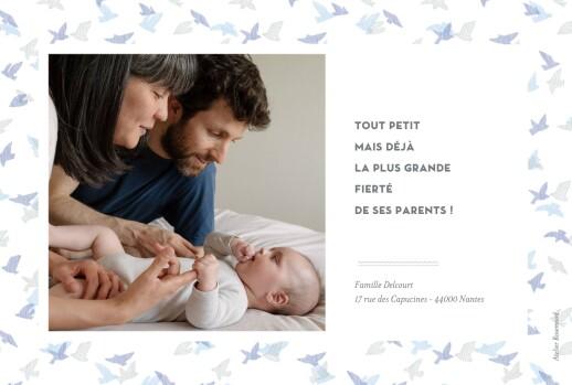 Faire-part de naissance Envolée d'oiseaux 2 photos rv bleu