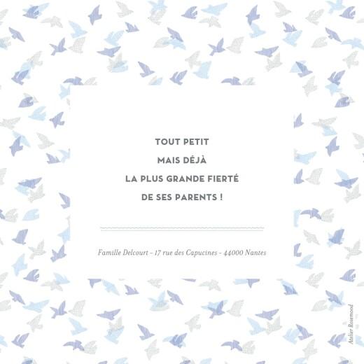 Faire-part de naissance Envolée d'oiseaux photos 4p bleu