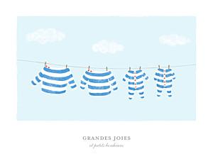 Affiche famille fil à linge marinière jumeaux bleu