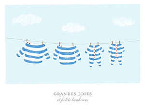 Affichette Fil à linge marinière jumeaux bleu