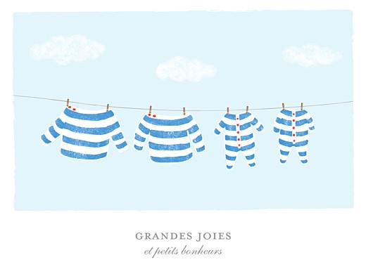 Affichette Fil à linge marinière jumeaux bleu - Page 1