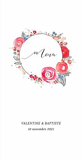 Menu de mariage Romance (4 pages) blanc
