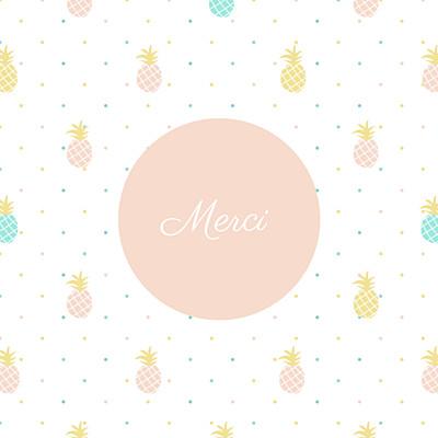 Carte de remerciement Petit ananas rose finition