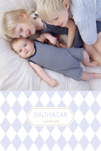 Faire-part de naissance Losanges portrait 2 photos bleu