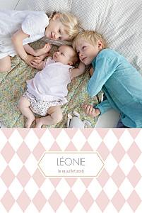 Faire-part de naissance rose losanges portrait 2 photos rose