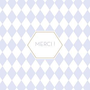 Carte de remerciement motifs merci losanges photo bleu