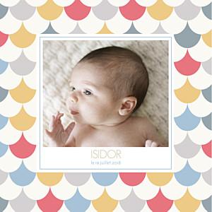 Faire-part de naissance polaroid motif graphique 2 photos 4p garçon