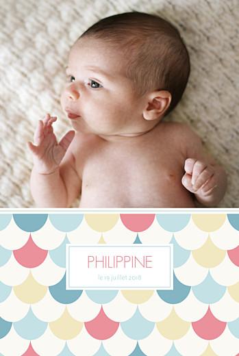 Faire-part de naissance Motif graphique 2 photos 4p fille