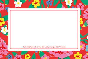 Carte de correspondance rouge pivoines rouge