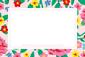 Carte de correspondance Pivoines rose
