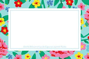 Carte de correspondance Pivoines bleu