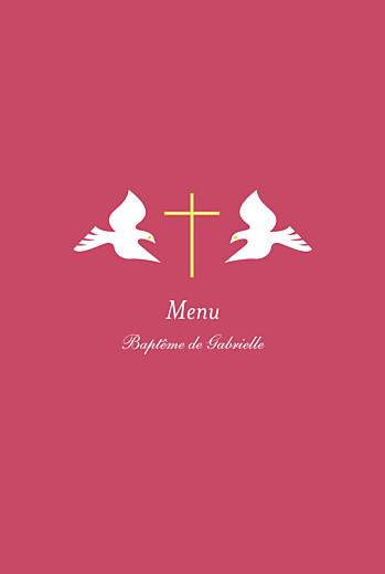 Menu de baptême Croix & colombes rose
