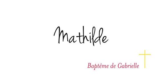 Marque-place Baptême Croix & colombes rose