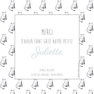 Carte de remerciement Petit chat & compagnie photo bleu