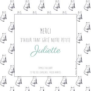 Carte de remerciement Petit chat & compagnie photo vert
