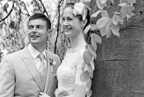 Carte de remerciement mariage Nature chic bleu