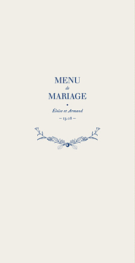 Menu de mariage Nature chic bleu