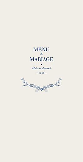 Menu de mariage Nature chic (4 pages) bleu