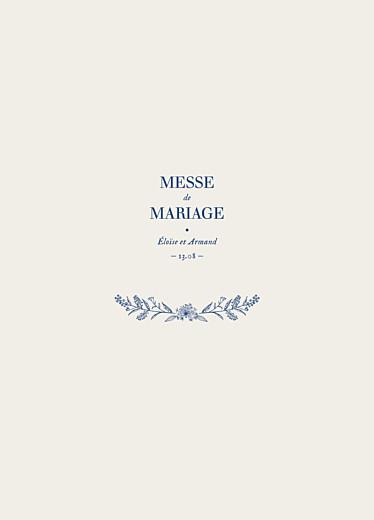 Livret de messe mariage Nature chic bleu