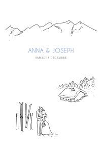 Faire-part de mariage original promesse d'hiver portrait blanc