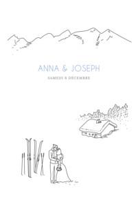 Faire-part de mariage Promesse d'hiver portrait blanc