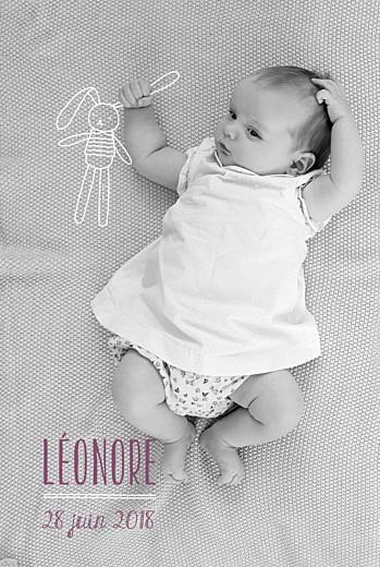 Faire-part de naissance Mon petit doudou lapin blanc - Page 1