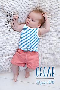 Faire-part de naissance photo illustrée mon petit doudou noir