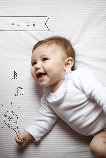 Faire-part de naissance Mon petit musicien noir - Page 1