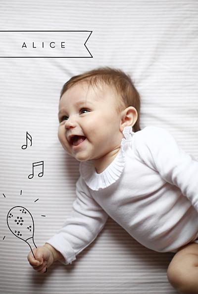 Faire-part de naissance Mon petit musicien noir finition