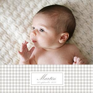 Faire-part de naissance marron vichy 2 photos gris