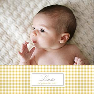 Faire-part de naissance jaune vichy 2 photos ocre