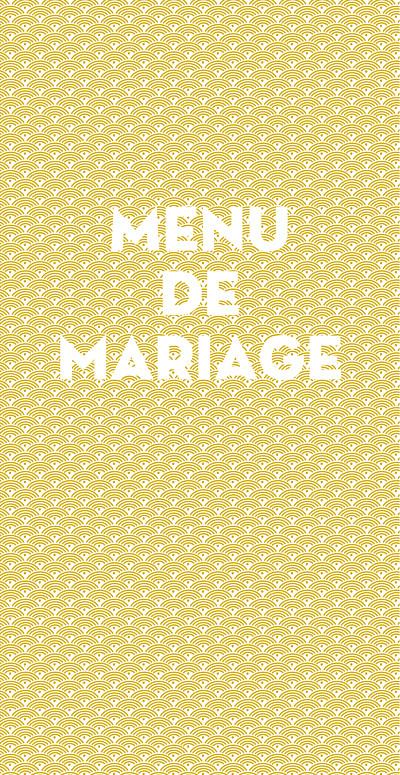 Menu de mariage Seigaiha jaune finition