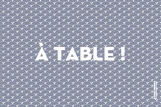 Marque-table mariage Seigaiha bleu