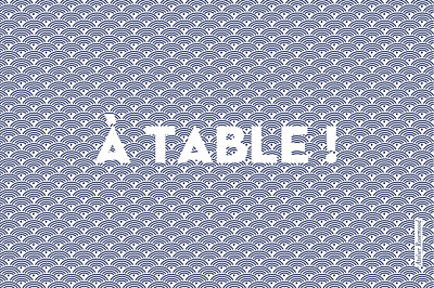 Marque-table mariage Seigaiha bleu finition