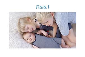 Carte de remerciement photo illustrée merci petit doudou blanc