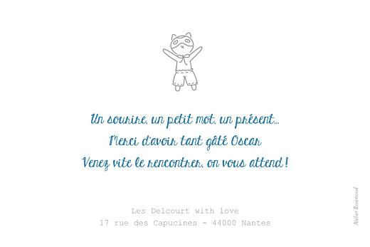 Carte de remerciement Merci petit doudou blanc