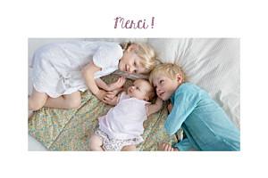 Carte de remerciement photo illustrée merci petit doudou lapin blanc