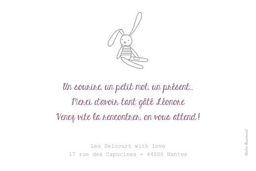 Carte de remerciement Merci petit doudou lapin blanc - Page 2