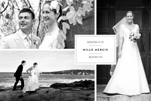 Carte de remerciement mariage Étiquette 4 photos paysage blanc