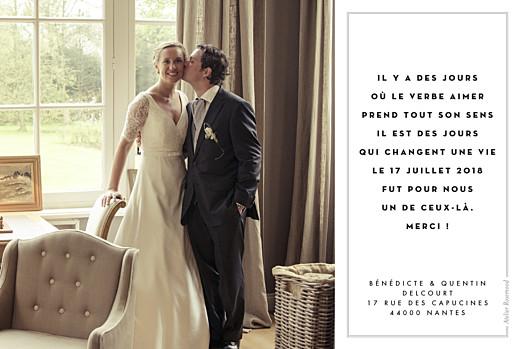 Carte de remerciement mariage Étiquette 4 photos paysage blanc - Page 2