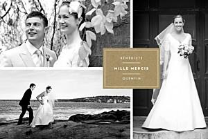 Carte de remerciement mariage Étiquette 4 photos paysage kraft