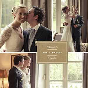 Carte de remerciement mariage marron étiquette 4 pages kraft