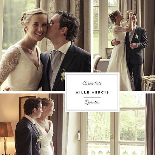 Carte de remerciement mariage Étiquette 3 photos carré blanc