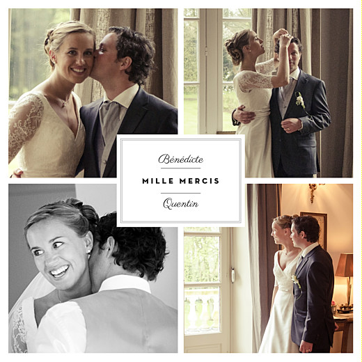 Carte de remerciement mariage Étiquette 4 photos blanc