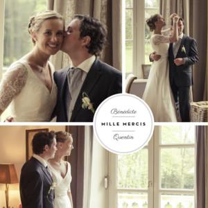 carte de remerciement mariage mdaillon 3 photos carr blanc - Photo Remerciement Mariage