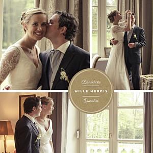 Carte de remerciement mariage marron médaillon 3 photos carré kraft