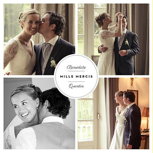 Carte de remerciement mariage Médaillon 4 photos blanc
