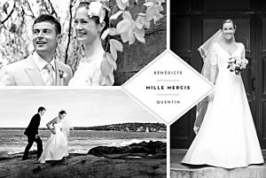 Carte de remerciement mariage Écusson 4 photos paysage blanc