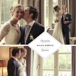 Carte de remerciement mariage Écusson 3 photos carré blanc